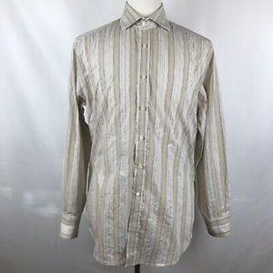 Thomas Dean Striped Tan Flip Cuff Dress Shirt